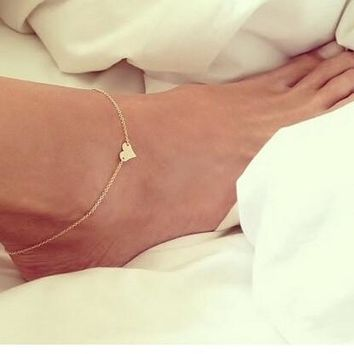 New Fashion jewelry Chain Sexy Gold Tone Love Heart Foot Jewelry Heart Anklets for Women Girl (With Thanksgiving&Christmas Gift Box)= 5658240001