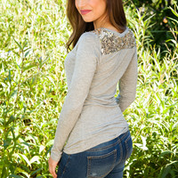 By Starlight Sequin Top - Grey