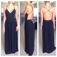 Long Chiffon Maxi Dress - Black