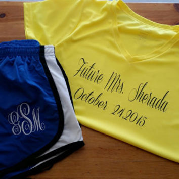 Ladies Wicking V-neck and Shorts- wicking material- running outfit- sports- Moisture contro- mrs- bride- monogram-