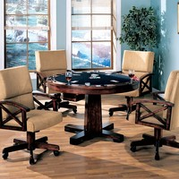 5 pc Marietta Collection walnut brown finish wood game room table , poker, bumper pool, dining
