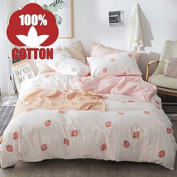 AOJIM Cute Strawberry Duvet Cover with Two Pillowcases Funny Patterns Kawaii Printing Bedding Set Queen Size 3 pcs Gift for Her/Girls/Women 🍓strawberry🍓 Full/Queen