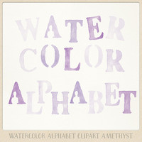 Alphabet clipart Watercolor (104 pc) purple violet amethyst lavender. hand painted clip art letters for designing cards printables wall art