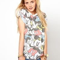 Primark Mickey Mouse Roll Sleeve T-Shirt at asos.com