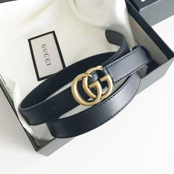 GUCCI Tide brand classic double G logo men's simple fashion smooth buckle belt