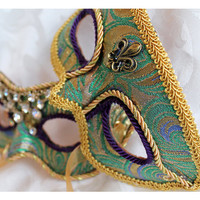 Couples Matching Leather Masquerade Masks in Green Gold Purple Brocade