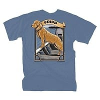 Dog & Jon Boat T-Shirt in Marine Blue by Fripp Outdoors