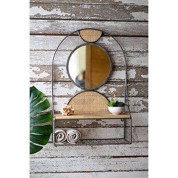Metal Wall Shelf & Mirror With Recycled Wood Shelf