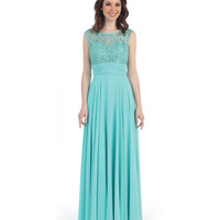 Preorder -  Mint Lace & Chiffon Sleeveless Gown 2015 Prom Dresses