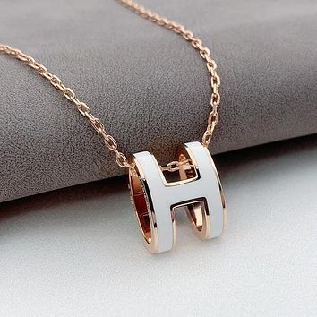 Hermes new H letter fashion ladies necklace