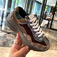 Gucci GG new daddy shoes retro thick-soled inner increased color matching casual shoes for men and women