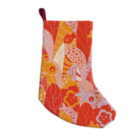 """Akwaflorell """"Fishes Here, Fishes There"""" Orange Red Christmas Stocking"""