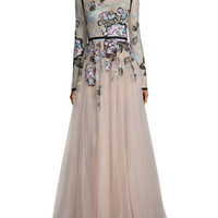 Elie Saab Floral-Embroidered Long-Sleeve Gown, Blush/Multi