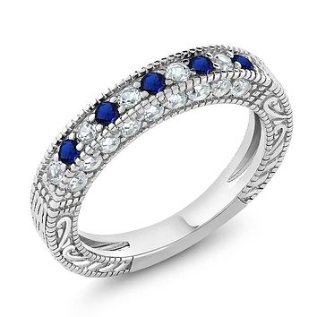 925 Sterling Silver Sapphire Band Ring