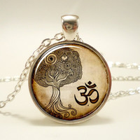 Om Necklace, Namaste Yoga Jewelry, Brown Tree Zen Pendant = 1932289604