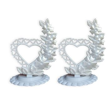2 Vintage White Heart Flowers Base Wedding Cake Topper Centerpiece Party Decor
