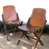 Vintage Pair Folding Wooden Chairs, Set of 2 Wood World War II US Military Chairs