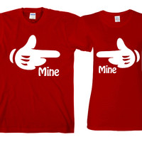 """Mine Hands""""Cute Couples Matching T-shirts"""""""