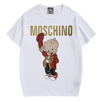 Moschino street fashion men and women print round neck loose half-sleeved T-shirt white