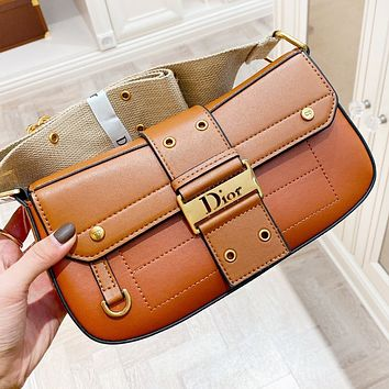 Dior New fashion leather shoulder bag crossbody bag Brown