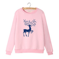 Women's Cute Reindeer Long Sleeves Sweat Shirt
