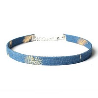 Denim Choker Necklace in Palm Design