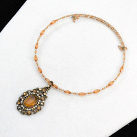 Monet Choker Necklace, Gold Monet Choker, Beaded Choker Necklace      J816