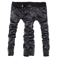 Top quality fashion men faux leather pants motorcycle skinny jeans pants trousers size 28-36 C104