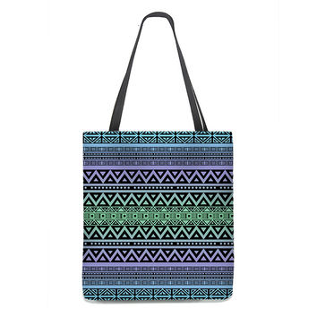 Tribal Tote Bag in blue green and purple