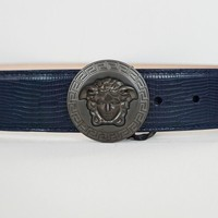 NWT Authentic VERSACE Gunmetal MEDUSA Midnight Blue Leather Belt IT-100/US-40