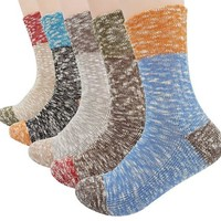 ONETOW Women's Lady's 5 Pack Vintage Style Cotton Crew Socks