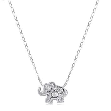 Teeny-Tiny Sterling Silver Diamond Elephant Necklace 17 inch Sterling Silver Chain