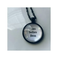 Hoes before Bros parks and rec quote necklace