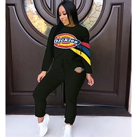 Dickies Fashion Women Casual Print Round Collar Sweater Pants Trousers Set Two-Piece Sportswear Black