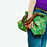 Zip Tote Green Gold Hand Bag with Hand stitched  Real Leather Handles