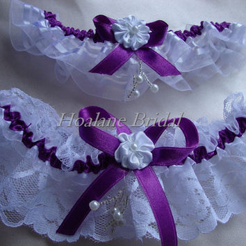 Lace Garter, Lace/organza ribbon garter set, Purple garter set, Wedding Garter set