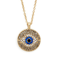 Evil Eye Circle Pendant Necklace