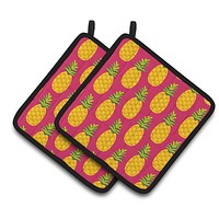 Pineapples on Pink Pair of Pot Holders BB5136PTHD