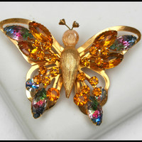 Vintage Selini Amber and Watermelon Color Rhinestone Butterfly Brooch