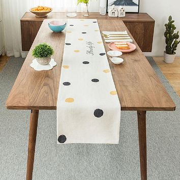 Ink and Yellow Dots Table Runner