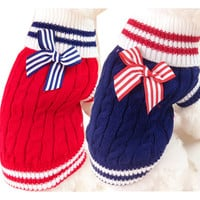 Cute Pet Dog Sweater Winter Warm Clothes Cat Puppy Knitwear Soft Sweatshirt Navy Style Clothing for Dog Roupas de Perro 15
