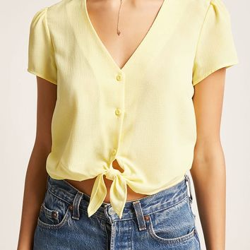Self-Tie Button-Front Top
