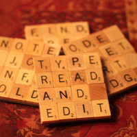 Scrabble Coasters with Recycled Wood Scrabble Tiles And Sturdy Game Board Backing Set Of Four WRITERS BLOCK