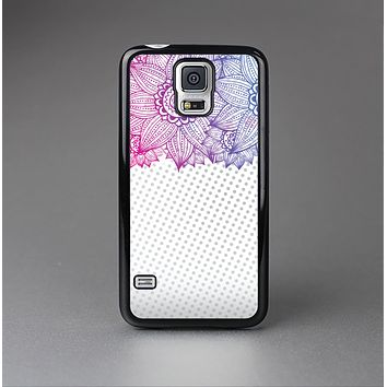The Vibrant Vintage Polka & Sketch Pink-Blue Floral Skin-Sert Case for the Samsung Galaxy S5