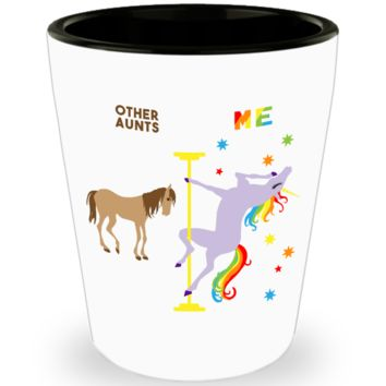 Aunt Gift for Auntie Gifts Birthday Present from Niece from Nephew Pole Dancing Unicorn Ceramic Shot Glass