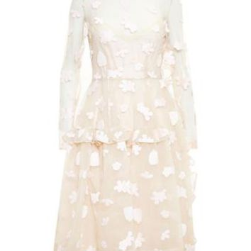 SIMONE ROCHA   Floral Embroidered Long Sleeve Dress   brownsfashion.com   The Finest Edit of Luxury Fashion   Clothes, Shoes, Bags and Accessories for Men & Women