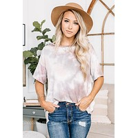 Mad For Mauve Neutral Tie Dye Top