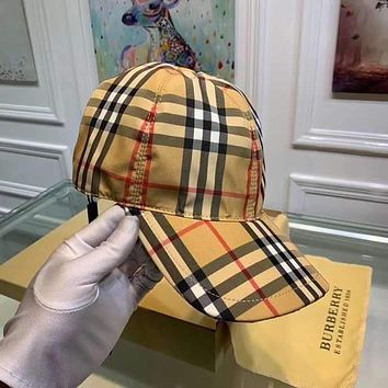 """Burberry"" Unisex All-Match Simple Lattice Stripe Baseball Cap Couple Peaked Cap  Sun Hat"