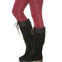 Knee High Work Boots in Black