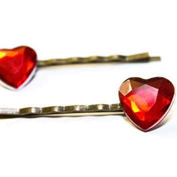 Diamond shaped Red heart bobby pins ( one pair )